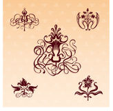 Floral ornaments. Set of five floral ornamental design elements on classic style background Stock Photo