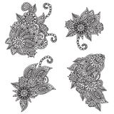 Floral ornaments. Four black and white fully editable floral ornaments Stock Photo