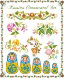 Floral Ornaments in Russian Style. Floral ornamental set in traditional Russian style, including Matryoshka dolls and various floral designs Stock Photos