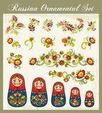 Floral Ornaments in Russian Style. Floral ornamental set in traditional Russian style, including Matryoshka dolls and various floral designs Royalty Free Stock Photos