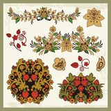 Floral Ornaments in Russian Style Royalty Free Stock Image