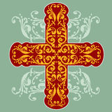 Floral Ornate Cross. Wiwth swirls and isometric patterns royalty free illustration