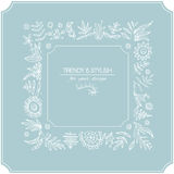 Floral ornate frame for invitations or announcements. Hand draw flowers Royalty Free Stock Photo