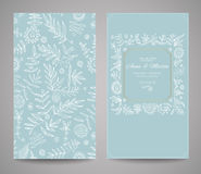 Floral ornate frame for invitations or announcements. Hand draw flowers Stock Photos
