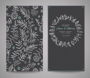 Floral ornate frame for invitations or announcements. Hand draw flowers Royalty Free Stock Photography