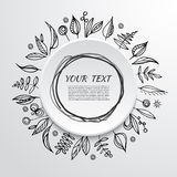 Floral ornate frame for invitations or announcements. Hand drawn flowers. Vector Royalty Free Stock Photo