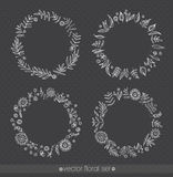 Floral ornate frame for invitations or announcements. Hand drawn flowers. Vector set Stock Images