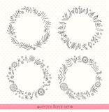 Floral ornate frame for invitations or announcements. Hand drawn flowers. Vector set Royalty Free Stock Images