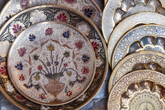 Floral ornate Indian plates Royalty Free Stock Photos