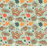 Floral ornate pattern with many cute details. Seamless beautiful background with flowers Royalty Free Stock Image