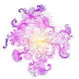 Floral ornate pattern with roses. Vector illustration. stock illustration