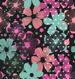 Floral ornate pattern  Seamless romantic design with beauty flowers Royalty Free Stock Photos