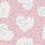 Floral ornate romantic doodle seamless pattern with hearts Stock Photo