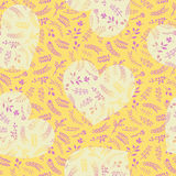 Floral ornate romantic doodle seamless pattern with hearts. Floral ornate doodle seamless pattern with hearts in yellow color. Romantic design for wedding and Stock Photo