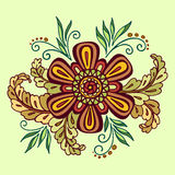 Floral Outline Calligraphic Pattern Stock Image