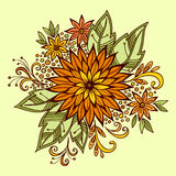 Floral Outline Calligraphic Pattern Royalty Free Stock Photography