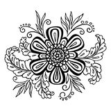 Floral Outline Calligraphic Pattern Royalty Free Stock Image