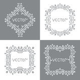 Floral outline frames and borders. Monogram mono Royalty Free Stock Images