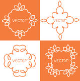 Floral outline frames and borders. Monogram mono Royalty Free Stock Photography