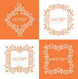 Floral outline frames and borders. Vector mono. Line graphic design templates Royalty Free Stock Photography