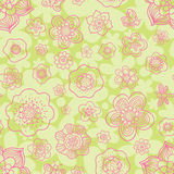 Floral outline seamless pattern. Stock Photos