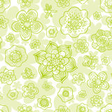 Floral outline seamless pattern. Royalty Free Stock Photo