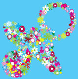 Floral pacifier. Isolated on blue Royalty Free Stock Photo