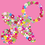 Floral pacifier. Isolated on pink background Royalty Free Stock Images