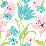 Floral paint. Floral seamless pattern or background, retro style over white Stock Photo