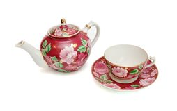 Floral-painted tea service isolated Stock Photo