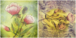 Floral painting background pastels Stock Photography