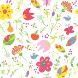 Floral painting seamless wallpaper with fruits fun Stock Images