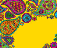 Floral paisley background with indian ormament and place for your text Stock Photo