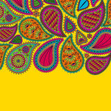 Floral paisley background with indian ormament and place for your text. Romantic design in bright colors. Greeting card. Vector il Stock Images