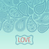 Floral paisley background with indian ornament and place for your text. Stock Photos