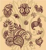 Floral paisley design set vector illustration