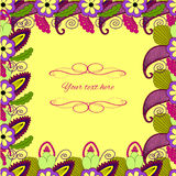 Floral paisley frame with place for text Stock Photo