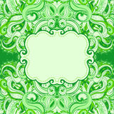 Floral paisley green frame Royalty Free Stock Images