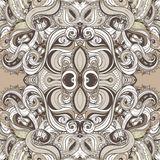 Floral paisley indian brown ornate seamless pattern stock illustration