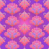 Floral paisley inspired Indian vector colorful ornate seamless pattern. Decorative style retro background, ornate design with vector illustration
