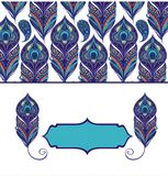 Floral paisley pattern with peacock feathers Stock Photo