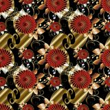 Floral paisley seamless pattern. Black vector background wallpap Royalty Free Stock Images