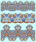 Floral paisley stripe pattern, border set Royalty Free Stock Photo