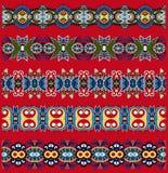 Floral paisley stripe pattern, border set Stock Image