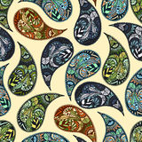 Floral paisley vector colorful ornate seamless pattern. Turkish cucumber - vector ornament Royalty Free Stock Photos