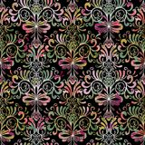 Floral Paisleys seamless pattern. Damask vintage colorful backgr. Ound. Ornate wallpaper. Decorative hand drawn paisley flowers, swirl curve leaves, line art Stock Photography