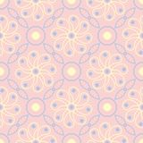 Floral pale pink seamless background. Floral pattern with light blue and yellow elements. For wallpapers, textile and fabrics Stock Photos