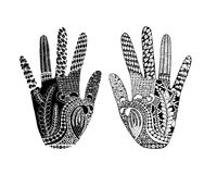 Floral palm, hand drawn zentangle style for our design Stock Photo