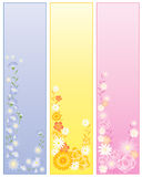 Floral panels. An illustration of three floral panels in blue yellow and pink Stock Image