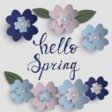 Floral paper art  card. Floral paper art card template in pastel colors with hello spring inscription  eps10 Royalty Free Stock Image